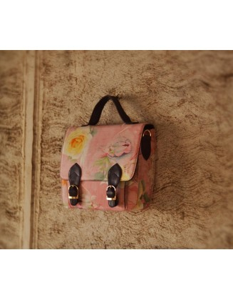 pink floral double buckle bag