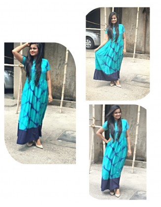 BLUE TIE AND DYE MAXI DRESS